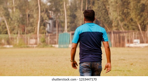 Man walking wearing blue jeans and t shirt unique photo