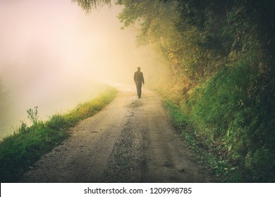 Man walks alone on foggy countryside road.