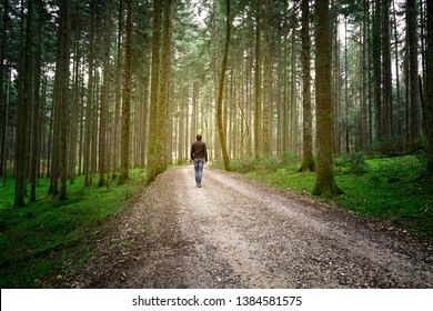 Man walks alone on forest road with mossy ground.