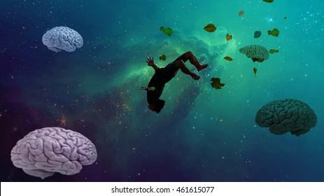 Man wandering inside his subconscious dreams