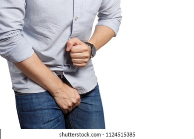Man wanting to the toilet and holding his groin, isolated on white background
