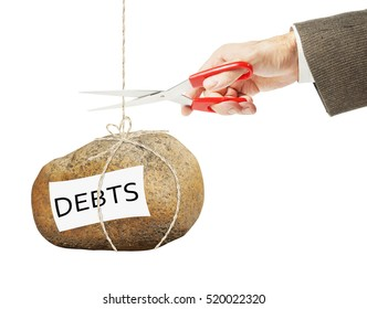 Man wants to cut a rope on which hangs heavy stone with debts. Getting rid of arrears
