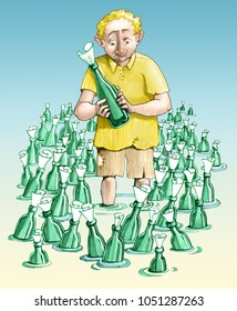 man wants to send a message in bottles he looks dejected at the many bottles that are the same as his around him
