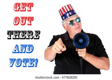 A man wants you to get out and vote. isolated on white. room for text. model released.  Focus on the mans Hands, Fingers, and Megaphone.