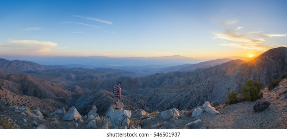 Man watching the sunset at Keys View in Joshua Tree National Park