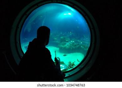 Man watching underwater world through round window in aquarium