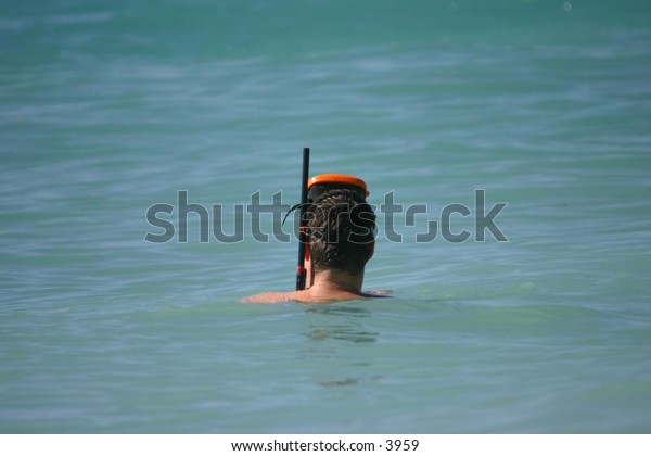 man in water with snorkel gear on