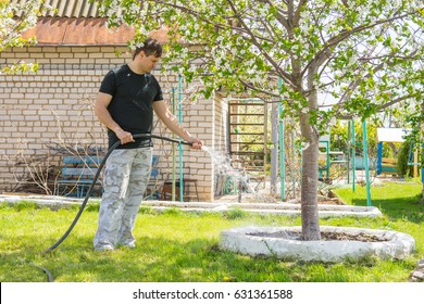 Man watering the fruit trees with a hose on a country site