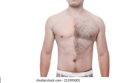 man waxing his chest to depilate hair half body isolated on white background with clipping path