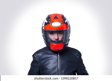 A man wear a helmet motocycle isolate on the white background