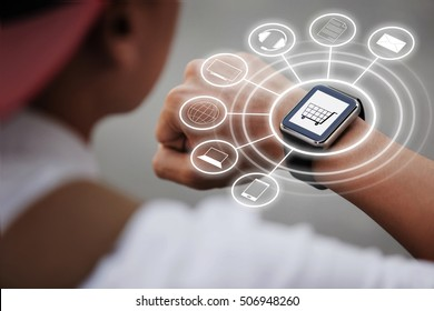Man wear smart watch in everyday lifestyle. He using smart watch for omnichannel. Concept for business, omnichannel, multi payment and other.
