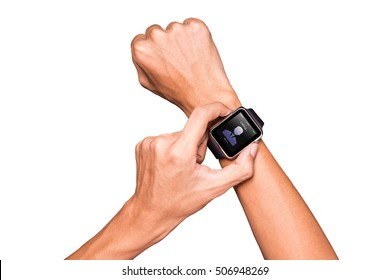 Man wear smart watch in everyday lifestyle. He contact friend for anything. Concept for modern  lifestyle, businessman, Communication and other.