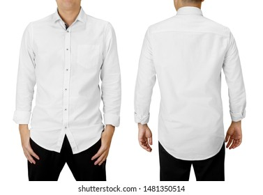 Man wear white long sleeve shirt, front and back view isolated on white