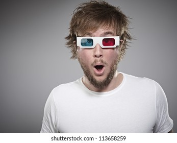 Man Wearing 3D Glasses