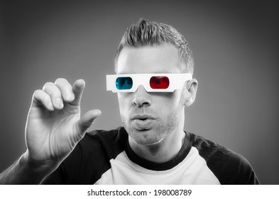 Man wearing 3d glasses in black and white