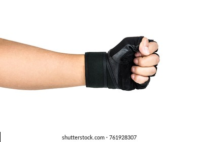 Man Wearing Black Fitness Gloves, Workout Gloves, Man Fight, fists hitting each other, Healthy Concept Isolated on white background.