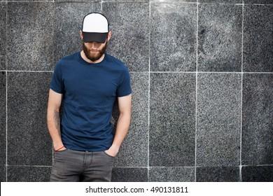 Man Wearing  black-white Cap