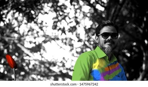Man wearing colourful shirts unique portraits photo
