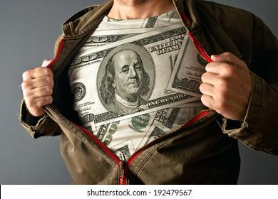 Man wearing dollar shirt. man showing his US dollar shirt under jacket.