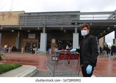 Man wearing face mask, gloves, protection against coronavirus. Covid-19 person. Shopping in USA, America amid corona virus situation