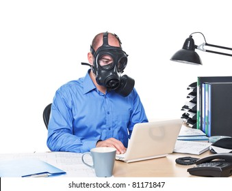 man wearing gas mask work with laptop isolated on white