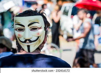 Man wearing Guy Fawkes mask during the 2014 G20 Economic Summit in Brisbane, Australia