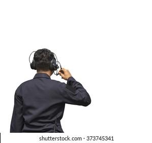 man wearing headphones Communications on isolate white background.