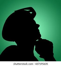 Man wearing a helmet against green vignette