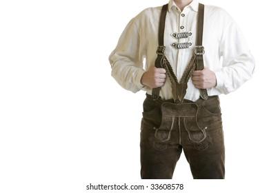 Man wearing Oktoberfest leather trousers (lederhose)