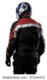 Man wearing a protective leather and textile racing suit for racers and motorcycle motor sports.  The gear is armored with a helmet and worn by bikers and professional race car drivers.