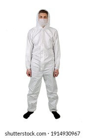 man wearing protective pandemic suit Unisex Disposable Protective Coverall with Hood isolated white background