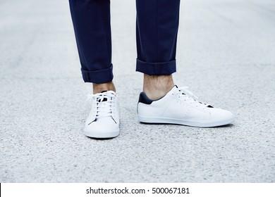 Man wearing sneakers, close up