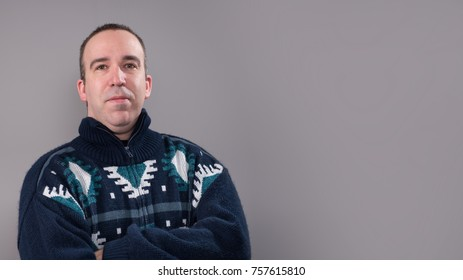 A man wearing a sweater with room for your text