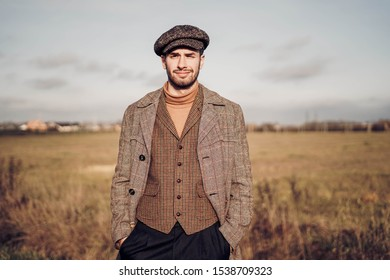 man wearing traditional english clothes outdoors