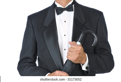 Man Wearing Tuxedo Holding an Umbrella torso only isolated on white