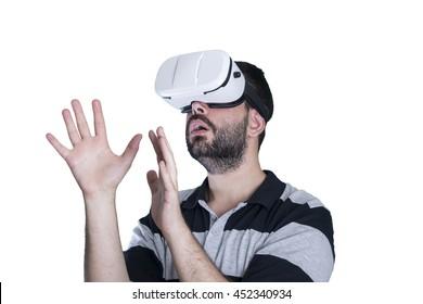 Man wearing virtual glasses VR
