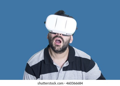 Man wearing virtual glasses VR