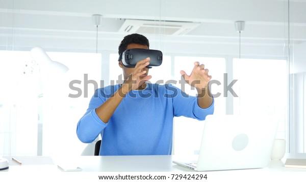 Man Wearing Virtual Reality Glasses Office Stock Photo (Edit
