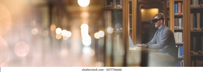 Man Wearing VR Headset in library with transition