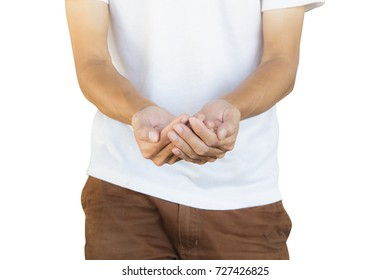 Man wearing white shirt and brown pants making hand gesture like a holding something isolated on white background with clipping path. Concept idea.