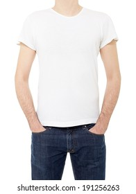 Man wearing white t-shirt with hands in pockets isolated on white, clipping path included