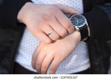 man wearing wrist wath