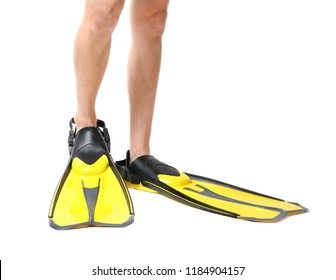 Man wearing yellow flippers on white background, closeup