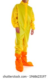 Man wearing yellow protective suit isolated on white background