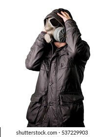 Man wears a gas mask isolated in white background