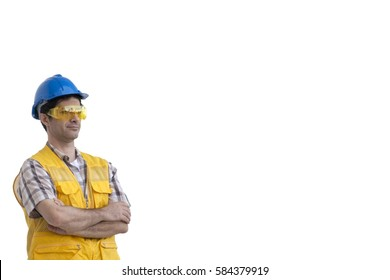 Man wears safety vest and safety hat on white background.