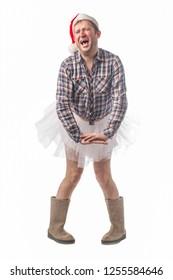 Man wears a tutu