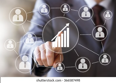 Man with web chart online business diagram web