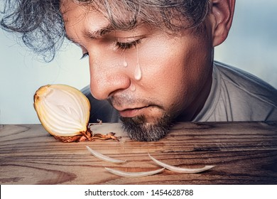 a man weeps because of the onion