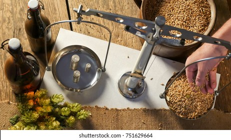 Man Weighs Malt for Home Brewing of Beer.